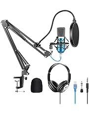 Neewer USB-microfoon met ophanging, schaararm statief shock mount monitor hoofdtelefoon pop filter USB-kabel en klem set voor geluidsopname voor Windows en Mac blauw/zilver