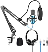 Neewer USB Microphone with Suspension Scissor Arm Stand, Shock Mount, Monitor Headphone, Pop Filter, USB Cable and Table Mounting Clamp Kit for Sound Recording for Windows and Mac (Blue/Silver)