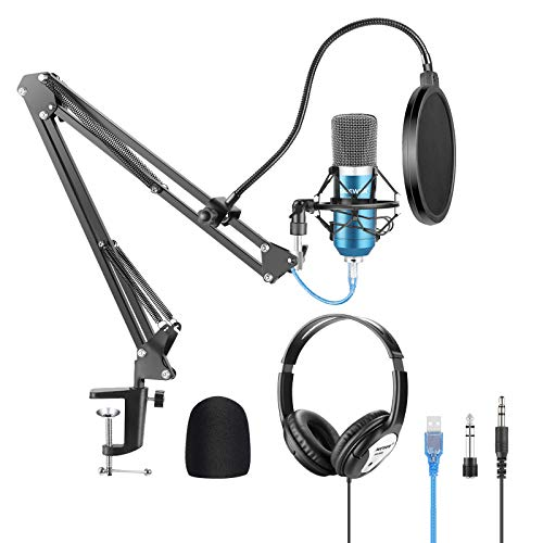 Neewer USB Microphone with Suspension Scissor Arm Stand Shock Mount Monitor Headphone Pop Filter USB Cable and Table Mounting Clamp Kit for Sound Recording(Blue/Silver)