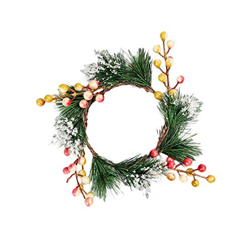AeasyG 3 Pack Christmas Candle Ring,Artificial Red Berries Candle Holders Snowy Pine Needles Garland,Christmas Ornament Decorations Candle Holder Small Wreaths Diameter 4 Inches