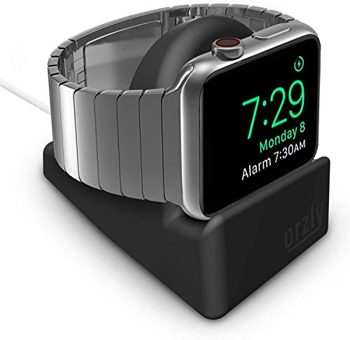 ORZLY - Supporto compatto per Apple Watch, compatibile con la modalità Nightstand, supporto nero con slot integrato per cavi compatibile con 38 mm e 42 mm e 40 mm e 44 mm