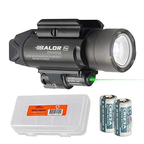 OLIGHT Baldr Pro 1350 Lumen WeaponLight Flashlight with Green Laser Sight with LumenTac Battery Organizer (Black)