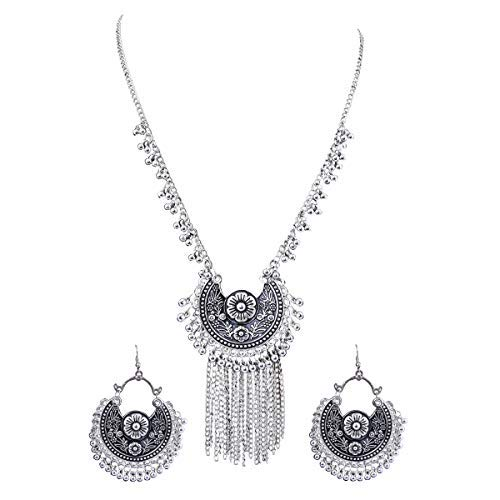Radhna ' Elegant Black Meena Oxidised Jewellery Set With Earrings For Women And Girls - Indian Traditional Design With Bollywood Style Touch For Wedding Or Any Other Functions