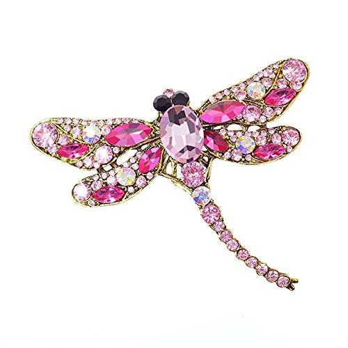 RWJFH Broche Broches de libélula Vintage de Cristal para Mujer Broche Grande Pin de Moda Accesorios de Abrigo Joyería Linda, Rosa