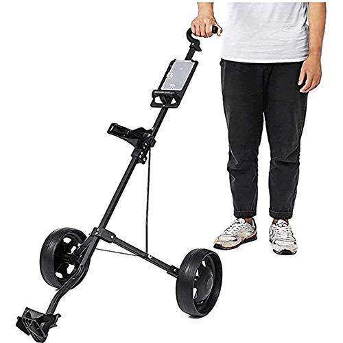 Golftrolley Golfwagen Golf Pull Wagen Adjustable Golf Trolley Cart 2 Räder Push-Pull-Golf Cart Aluminium-Legierung Faltbarer Trolley mit Bremse, mit Anzeiger