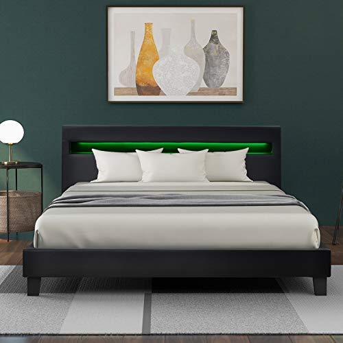 VSTAR66 LED Polsterbett Lattenrost - Kunstleder Bezug & Holz Gestell in grau,inkl. LED-Beleuchtung, Kunstleder & Lattenrost, Jugendbett Bett(140 x 200cm)