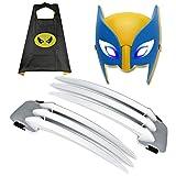 RTGE Giocattoli sicuri in plastica ABS per Bambini Artigli di Wolverine Claws (Set da 3 Pezzi) Puntelli per Cosplay di Film Mantello + Maschera Applicare al Costume di Halloween Masquerade