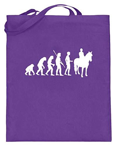 shirt-o-magic Pferde: Evolution Reiter - Jutebeutel (mit langen Henkeln) -38cm-42cm-Violett
