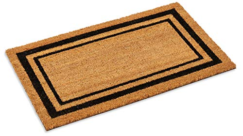 Kempf Double Border Large Coco Coir Mat, Rubber Vinyl Backing, Great for Double Doors, Indoor Outdoor Entrance Rug, 18 x 30-Inch, Black