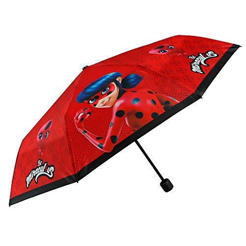Paraguas Plegable Niña Miraculous Ladybug - Paraguas Infantil Lady Bug Antiviento - Rojo con Borde Negro - Seguro Resistente al Viento - Manual - PFC Free - 7 + Años - Diametro 91 cm - Perletti