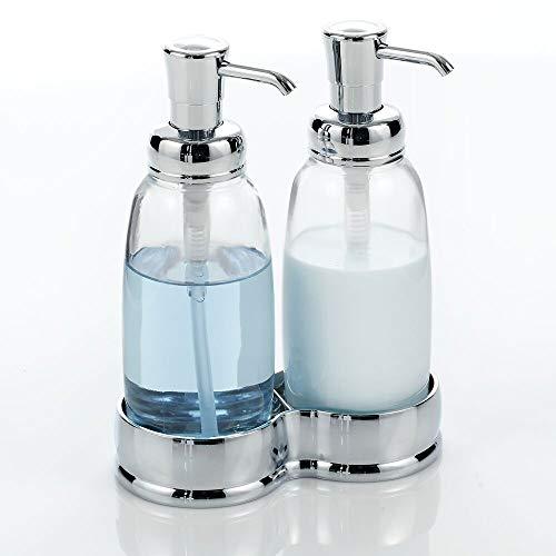 mDesign Doppio dispenser sapone – Portasapone bagno elegante in vetro e plastica – Portasapone liquido ricaricabile per sapone e crema mani – trasparente e argento