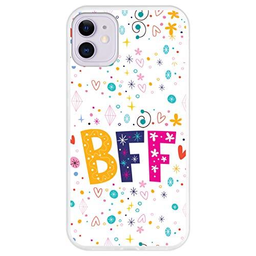 Hapdey Funda Transparente para [ iPhone 11 ] diseño [ BFF - Mejores Amigos para Siempre ] Carcasa Silicona Flexible TPU