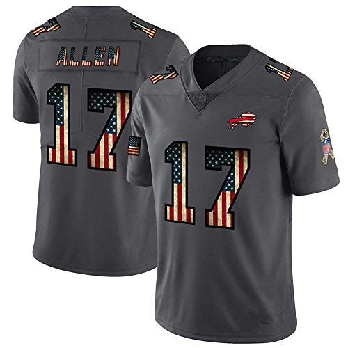 Josh Allen 17# Buffalo Bills Rugby-Trikot für American Football-Trikots, bequemes Trainings-T-Shirt für Herren, bestickte Kurzarm-Sportbekleidung-Black-L
