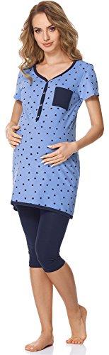 Bellivalini Damen Umstands Pyjama mit Stillfunktion BLV50-126 (Blau Punkte/Navy, L)