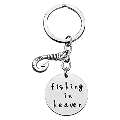 Memorial Keyring Gifts Fishing Hook Charm Keychain Fishing in Heaven in Memory of Keyring Memory Key Chain Memorial Keepsake Memorial Sympathy Gift Remembrance Keychain Loss of Loved One Keyring