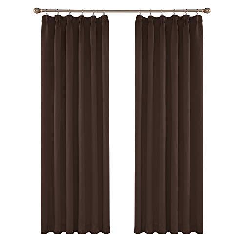 Amazon Brand – Umi Cortinas de Salon Modernas para Ventana Dormitorio Termicas Aislantes con Bolsillo Fruncido 2 Piezas 140 x 245 cm Marrón