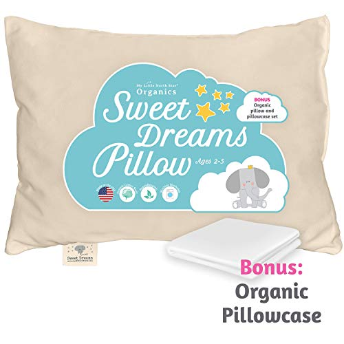 Toddler Pillow & Pillowcase Made in USA - Certified Organic Cotton - 13X18...