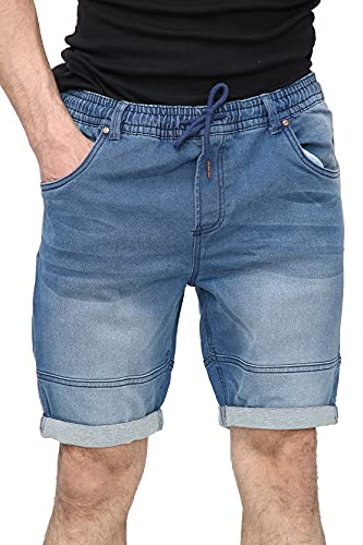 NOROZE Męskie bawełniane dżins elastyczny pas ze sznurkiem szorty wiele kieszeni do kolan długość lato podwijane szorty rozmiar UK 30-40