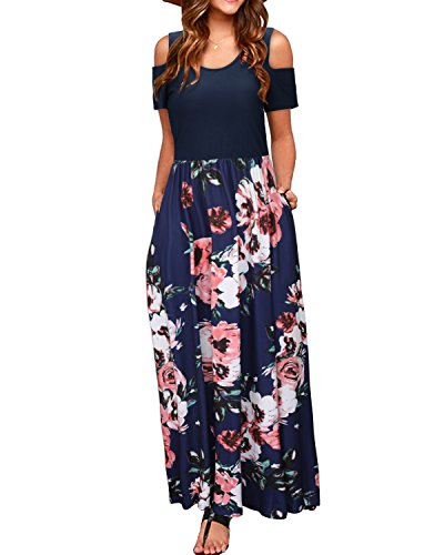 Features: Long Maxi Dresses,Cold Shoulder,Short Sleeve/Long Sleeve,Pockets Besides,Round Neck,Floor Length,Elastic Waist,Casual Sundresses Style,Beach Dress,Long Dress, Basic Style The cold shoulder design could makes your collarbone more beatiful an...