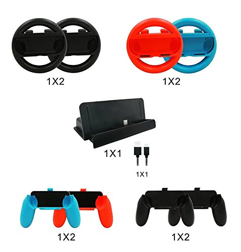 KEESIN 10 in 1 Nintendo Switch Accessoire Kits, 4x Joy Con Handgreep, 4x Joy Con Stuur, 1x Oplaadstation Stand met 1x Type C Kabel voor Nintendo Switch