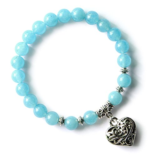 Me&Hz Blue Aquamarine Beads Stone Bracelet Stretchy Handmade Love Heart Charm Beaded Bracelets for Women