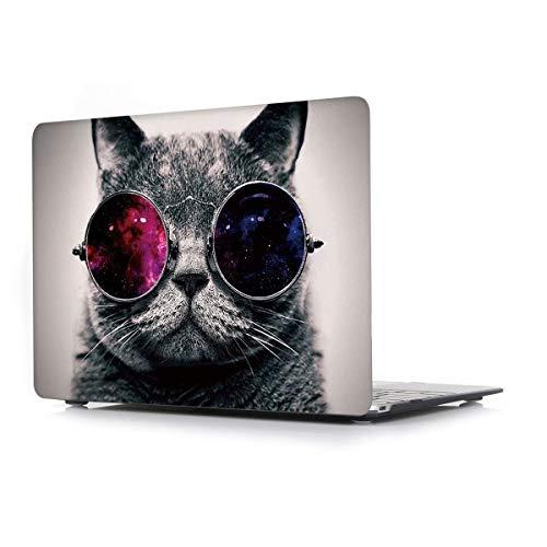 L2W Funda Dura para MacBook Air 13 Pulgadas (Old) Modelo A1466/A1369 Portátiles Accesorios Plástico Imprimir Rígida Diseño Creativo Cover Protección Carcasa,Gato Gafas 🔥
