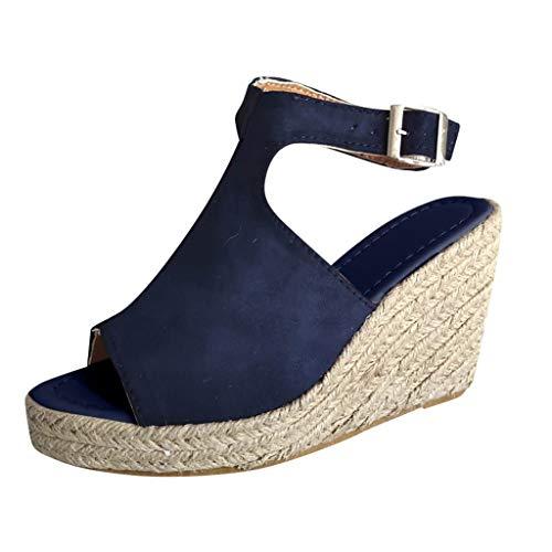 Damen Mode Feste Keilsandalen,Keile Lässige Schnalle Römische Schuhe-Sandalen-Riemchensandalen-Schnalle Sandaletten URIBAKY