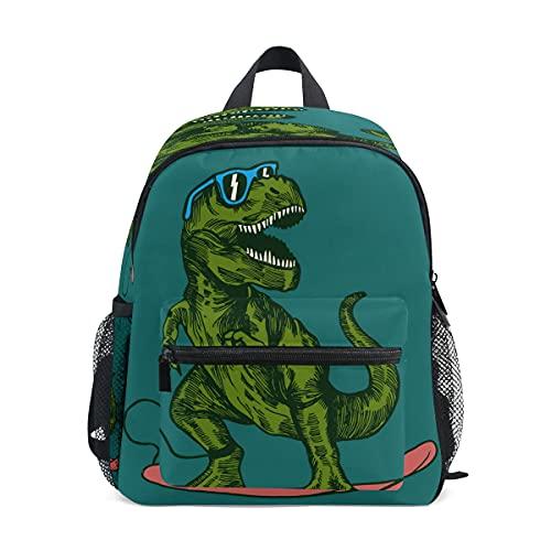 Happy Dinosaur Surfer - Mochila de gafas de sol, mochila para niños pequeños, mochila preescolar, bolsa de guardería, bolsa de viaje para niños