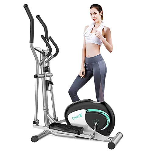 Dripex Elliptical Cross Trainer (2021 New Version), 8 Level Magnetic Resistance Elliptical Machine for Home Use w/ 6KG Flywheel, Pulse Rate Grips, LCD Monitor, iPad & Bottle Holder