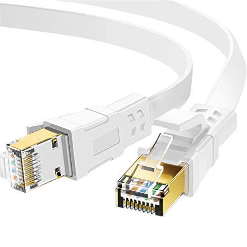 Cabo Ethernet Cat 8 de 50 pés, 26 AWG de alta velocidade para serviço pesado RJ45 cordão, rede Cat8 LAN banhada a ouro 40 Gbps 2000 Mhz, interna, externa e à prova de intempéries S/FTP resistente a UV para roteador/modem/jogo/interruptor
