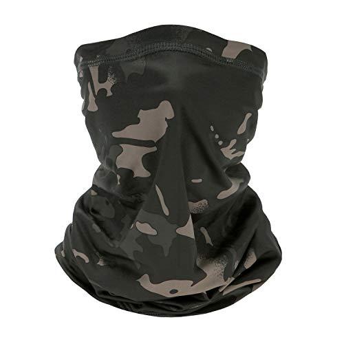 Bandana Stirnband, Multifunktionale Sonnen-UV-Schutz-Sturmhaube, elastische Kopfbedeckung, atmungsaktives Snood, für Camping, Laufen, Motorradfahren (Schwarze Tarnung)