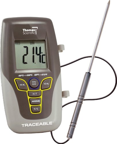 Thomas Traceable Kangaroo Thermometer, 7.5' Probe Length, -58 to 572 degree F, -50 to 300 degree C