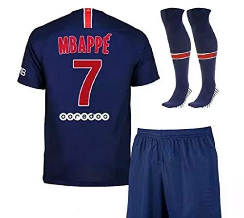Paris Mbappe Blue Home 20/21 Soccer Short Sleeve Kids Jersey + Shorts + Socks Set Kit for Youth Size Medium (8-9 Years Old)