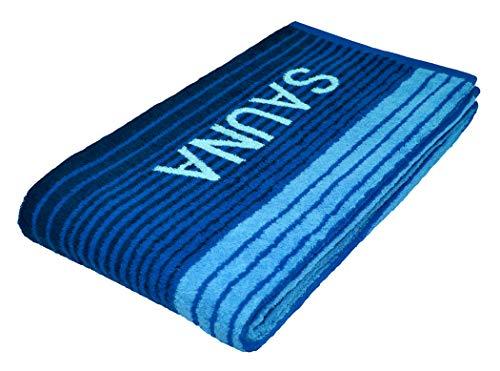 Lashuma Sauna Liegetuch Riga, Wellness Strandtuch oder Saunatuch, XXL Streifen Handtuch Farbe: Blau, Badetuch 80x200 cm
