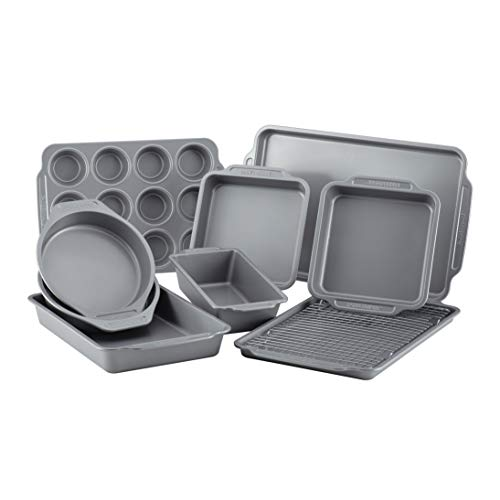 Farberware 46650 Nonstick Bakeware Set with Nonstick Bread Pan, Baking Pans, Cookie Sheet / Baking Sheet, Cake Pans and Muffin Pan / Cupcake Pan - 10 Piece, Gray