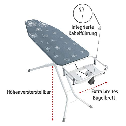 Wenko Bügeltisch Professional, extra breites Bügelbrett mit großer Ablage für die Dampfbügelstation, mit Bügelbrettbezug, geeignet für Dampfbügeleisen, Metall, 130 x 99 x 48 cm, weiß/blau - 2