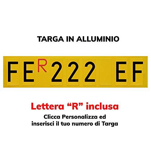 TopQuality - Placa repetidora de aluminio para remolques, carros colgantes con letras y números con caracteres homologados y R roja incluida