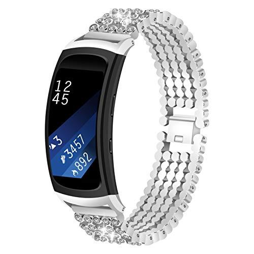 TWBOCV Gear Fit 2 Correa, Correa de Repuesto Metal Correa de Reloj de Acero Inoxidable Pulsera de Diamantes Bling Compatible con Samsung Gear Fit 2/Fit 2 Pro R360/ R365 (Plata)