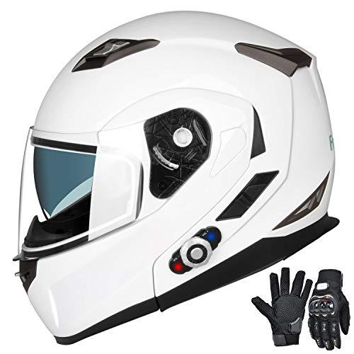 FreedConn Motorcycle Bluetooth Helmets,Bluetooth Integrated Modular Flip up Full Face Motorcycle Helmet,Dual Visor Modular Bluetooth Helmet,Mp3 FM Intercom DOT Approved Helmet (White, Large)