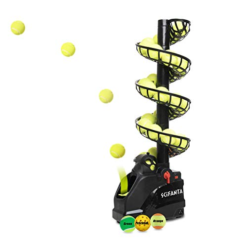 Portable Tennis Ball Tosser(4lb) for Self-Play|Ball Launcher Beginners/Kids/Coaches/Home-Court|Accurate&Efficient Feed Buddy for All-Levels/Ages|AC&Battery Powered