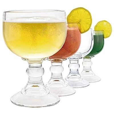 Schooner Beer Glass - 21.5 Oz Extra Large Goblet Crystal Style LEAD Free Shrimp Cocktail, Coronaritas, Margaritas 4 PACK