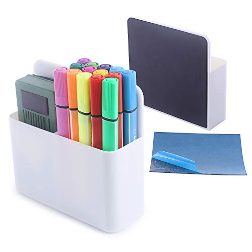 Magnetic Dry Erase Marker Holder, Pen and Eraser Holder for Whiteboard, Magnet Pencil Cup Utility Storage Organizer for Office, Refrigerator, Locker and Metal Cabinets with Powerful Neodymium Magnets
