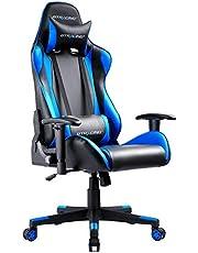 GTRACING 游戲椅 辦公椅 桌椅 游戲用椅 躺椅 電腦椅 高靠背 頭枕 腰部支撐 帶扶手 高度調整功能 PU皮革 藍色 (GT099)