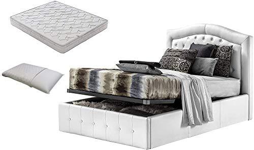 Letto piazza e mezza con box contenitore bianco designe + materasso piazza e mezza 120x190 memory foam+coppia guanciali in fibra 3D