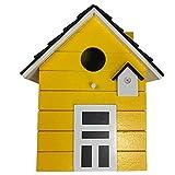 CasaJame Holz Vogelhaus für Balkon und Garten, Nistkasten, Haus für Vögel, Vogelhäuschen, Gelb...