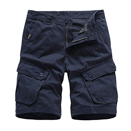 N/ A Cargo Shorts for Men,Men's Cargo Shorts Elastic Waist Twill Relaxed Fit Multi-Pockets Outdoor Casual Shorts Dark Blue