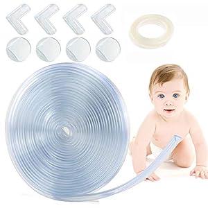 1Easylife Protector para bordes y esquinas, Transparentes 6M Protecciones de Esquinas Para Bebés, Espuma Forma de L/Bola para Mesa Borde, 2 rollo de cinta adhesiva de doble cara