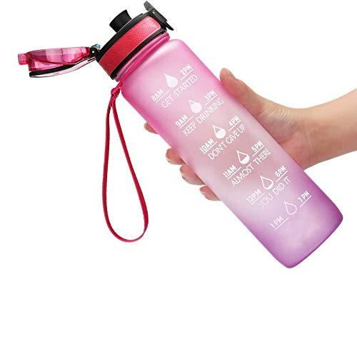 Botella de agua con tapa de pajita para fugas de frutas, hielo, 1000 ml, color rosa y morado degradado 1 pieza de deportes