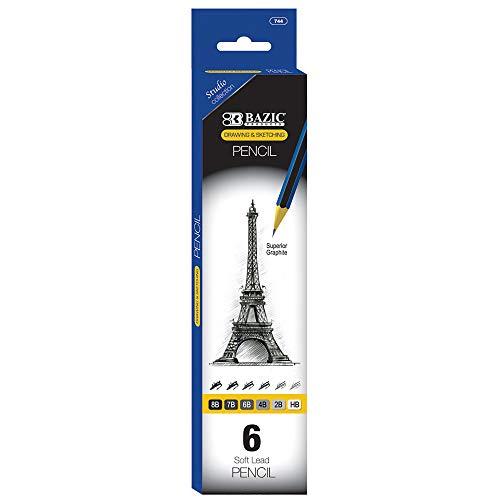 BAZIC Drawing Sketching Pencil Set, HB 2B 4B 6B 7B 8B, Professional Graphite Sketch Kit Pencils, for Artists Adults Beginners (6/Pack), 1-Pack
