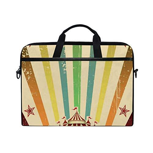 HUAYEXI Bolsa para portátil de 15-15,4 Pulgadas,Carpa de Circo Antiguo Anuncio Tema Rayas Estrellas y Tienda de Feria,Bolso Hombro-Ordenador-Portátil